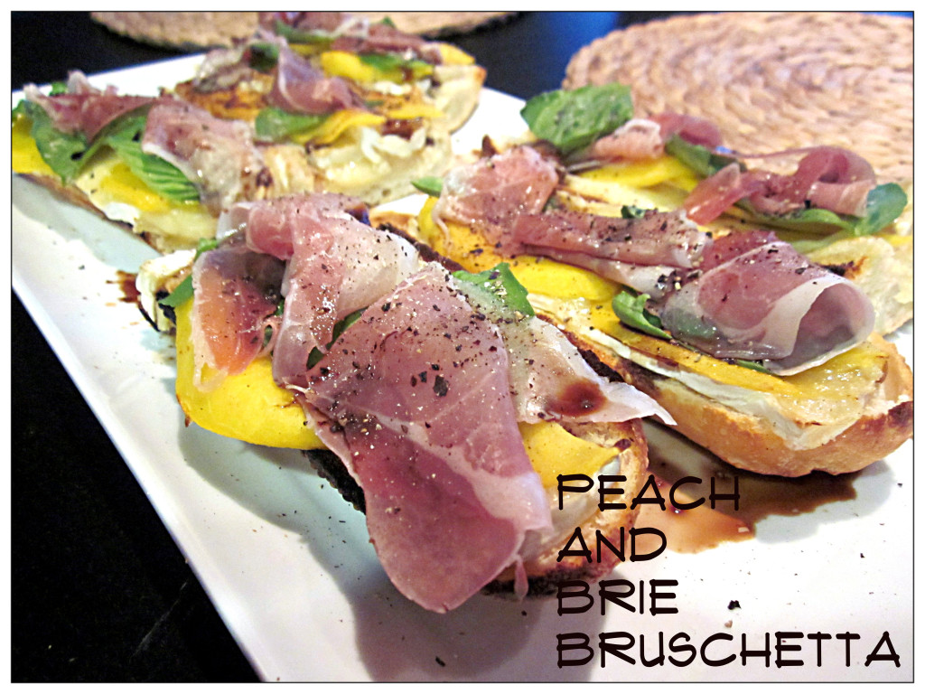 Peach, Bruschetta, Prosciutto and Basil Pizza