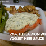 Roasted Salmon and Yogurt Herb Sauce